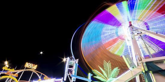 Long Time Exposure at Night at the Oktoberfest, Fairground Rides-Benjamin Engler-Photographic Print