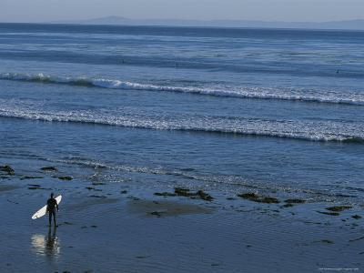 Longboard Surfer Watches the Surf Break on an Isla Vista Beach-Rich Reid-Photographic Print
