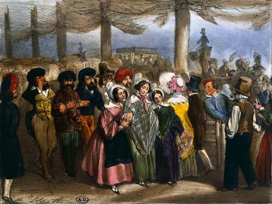 Longchamp in Paris, 1840--Giclee Print