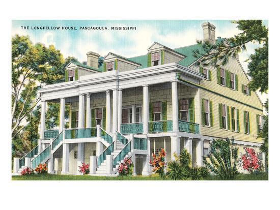 longfellow house pascagoula mississippi art print by art com