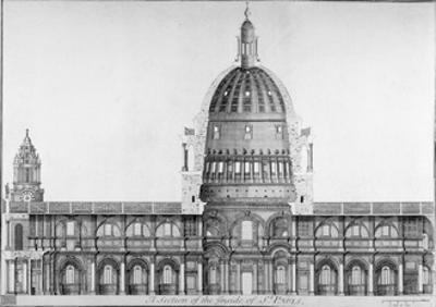 Longitudinal Section of St Paul's Cathedral, City of London, 1720