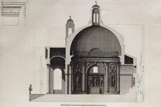 Longitudinal Section of Temple of Villa Barbaro in Maser--Giclee Print