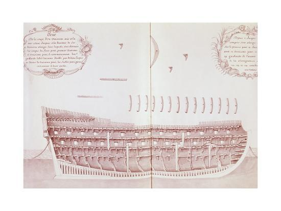 Longitudinal Section of Vessel Launched onto Sea, Is Atlas Di Colbert, France, 17th Century--Giclee Print