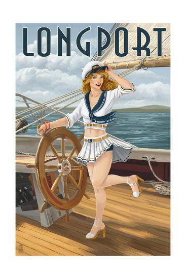 Longport, New Jersey - Pinup Girl Sailing-Lantern Press-Art Print