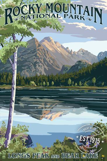 Longs Peak and Bear Lake Summer- Rocky Mountain National Park - Rubber Stamp-Lantern Press-Wall Mural