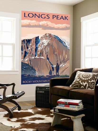 Longs Peak - Rocky Mountain National Park-Lantern Press-Wall Mural