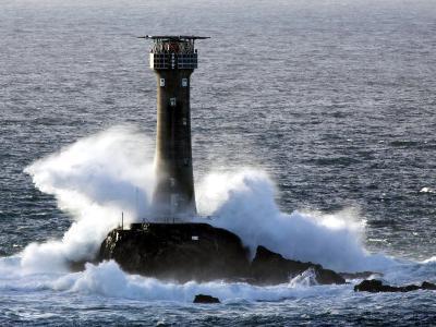Longships Lighthouse in Huge Swells at Lands End, UK-David Clapp-Photographic Print