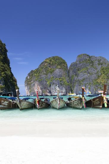 Longtail Boats at the Beach, Maya Bay at Koh Phi Phi Leh, Thailand, Andaman Sea-Harry Marx-Photographic Print