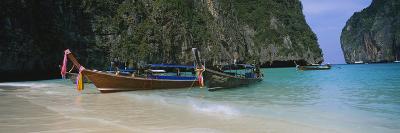 Longtail Boats Moored on the Beach, Ton Sai Beach, Ko Phi Phi Don, Phi Phi Islands, Thailand--Photographic Print