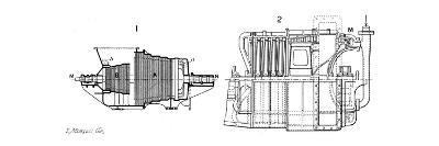 Longtudinal Sections of Two Steam Turbines--Giclee Print