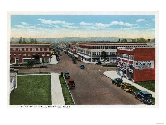 Longview, Washington - Aerial View of Commerce Avenue-Lantern Press-Art Print