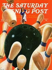"""""""Bowling Strike,"""" Saturday Evening Post Cover, March 15, 1941 by Lonie Bee"""