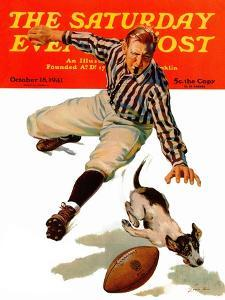 """""""Dog on the Field,"""" Saturday Evening Post Cover, October 18, 1941 by Lonie Bee"""