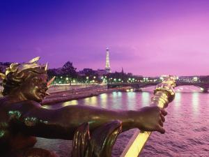 Eiffel Tower from Pont Alexander III Bridge, France by Lonnie Duka