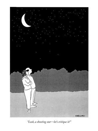 """""""Look, a shooting star?let's critique it!"""" - New Yorker Cartoon-Alex Gregory-Premium Giclee Print"""