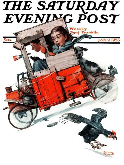 """Look Out Below"" or ""Downhill Daring"" Saturday Evening Post Cover, January 9,1926-Norman Rockwell-Giclee Print"