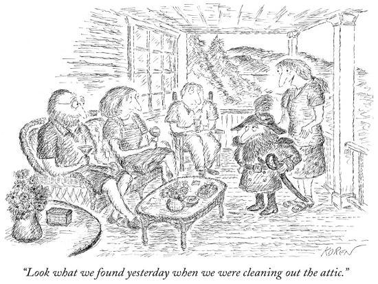 """""""Look what we found yesterday when we were cleaning out the attic."""" - New Yorker Cartoon-Edward Koren-Premium Giclee Print"""