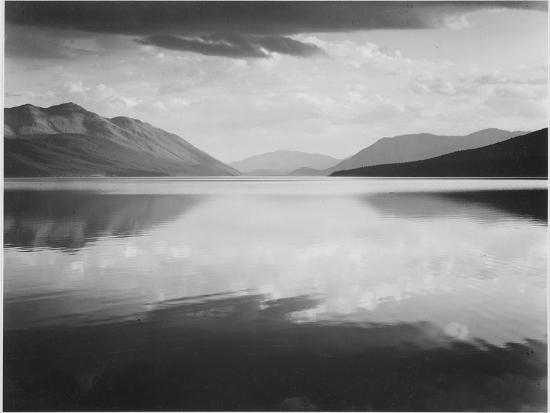 "Looking Across Lake Toward Mts ""Evening McDonald Lake Glacier National Park"" Montana 1933-1942-Ansel Adams-Art Print"
