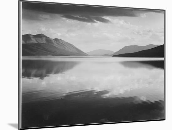 "Looking Across Lake Toward Mts ""Evening McDonald Lake Glacier National Park"" Montana 1933-1942-Ansel Adams-Mounted Art Print"