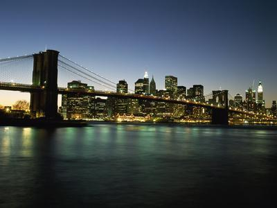Looking across the East River and the Brooklyn Bridge to the Financial District at Dusk-Design Pics Inc-Photographic Print