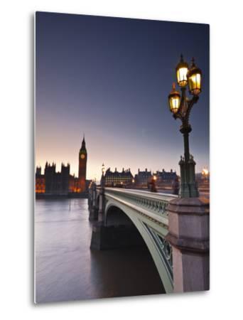 Looking across the River Thames Towards the Houses of Parliament and Westminster Bridge, London, En-Julian Elliott-Metal Print