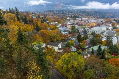 Looking Down into Autumn in Downtown Nelson, British, Columbia, Canada-Chuck Haney-Photographic Print