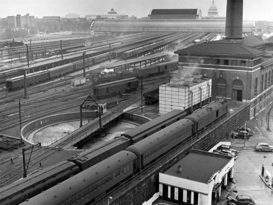 Looking Down on Railroad Yard at Union Station Showing Roundhouse Turntable  Photographic Print by Alfred Eisenstaedt | Art com