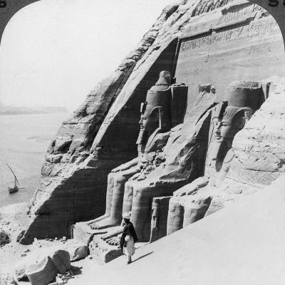 Looking Down on the River Past the Front of Abu Simbel Temple, Egypt, 1905-Underwood & Underwood-Photographic Print
