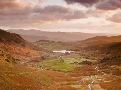 Looking Down Wrynose Pass to Little Langdale in Lake District National Park, Cumbria, England-Julian Elliott-Photographic Print