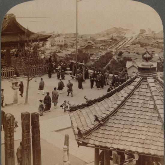 'Looking east from Miidera temple over Otsu and its canal to serene Lake Biwa, Japan', 1904-Unknown-Photographic Print