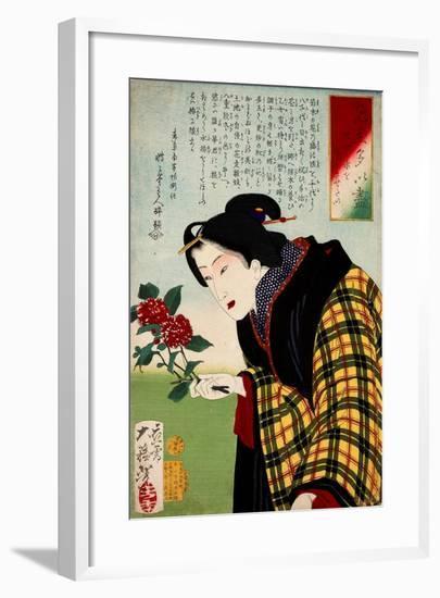 Looking for Water a Bijin Making an Ikebana Flower Arrangement-Yoshitoshi Tsukioka-Framed Giclee Print
