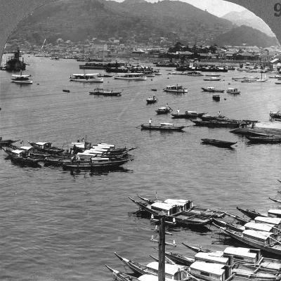 Looking North over Vessels in the Port of Nagasaki, Japan, 1904-Underwood & Underwood-Photographic Print