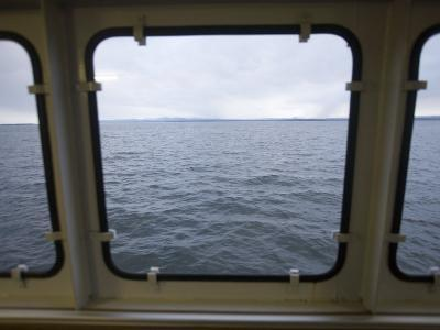 Looking Out a Ferry Boat Window on Lake Champlain-John Burcham-Photographic Print
