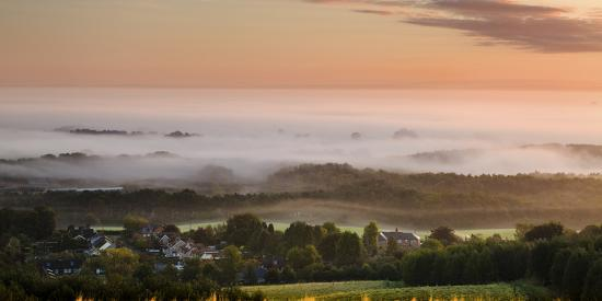 Looking over Delamere Village from Eddisbury Hill on an Autumn Morning-Garry Ridsdale-Photographic Print