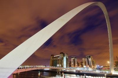 Looking over the Tyne at Dusk Through the Winking Bridge to the Baltic Arts Centre-Design Pics Inc-Photographic Print