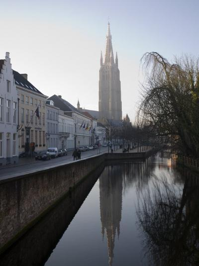 Looking South West Along Dijver, Towards the Church of Our Lady, Bruges, Belgium-White Gary-Photographic Print