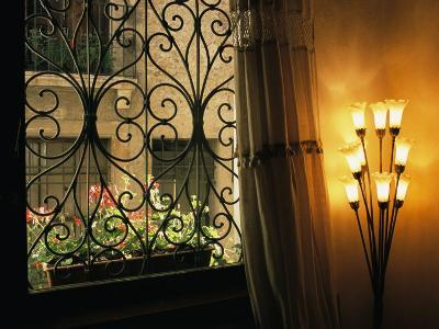 Looking Through Iron Filagree Window with Curtain, Lamp and Flower Box-Todd Gipstein-Photographic Print