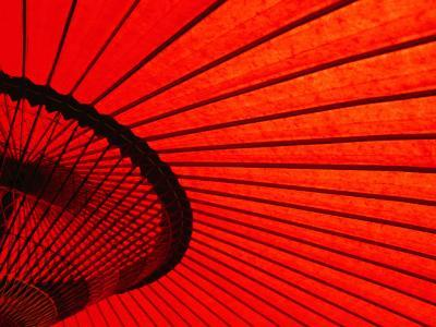 Looking Through Red Bangasa, an Oiled Rice Paper Umbrella, Japan,-Oliver Strewe-Photographic Print