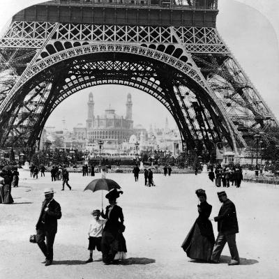 Looking Through the Base of the Eiffel Tower to the Trocadero and Colonial Station--Photographic Print