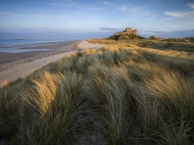 Looking Towards Bamburgh Castle Bathed in Evening Light from the Dunes Above Bamburgh Beach-Lee Frost-Photographic Print