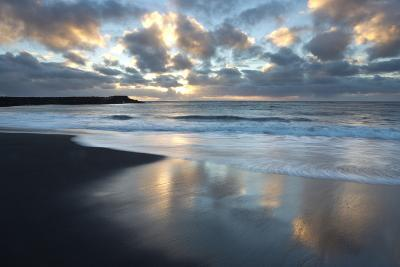 Looking Towards the North Atlantic at Sunrise from the Black Volcanic Sand Beach at Vik I Myrdal-Lee Frost-Photographic Print