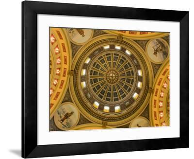 Looking up at the rotunda in the State Capitol Building in Helena, Montana, USA-Chuck Haney-Framed Photographic Print