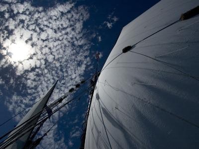 Looking Up the Mast of a Tall Ship to Cumulus Clouds in a Summer Sky-Todd Gipstein-Photographic Print