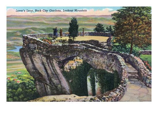 Lookout Mountain, Tennessee - Rock City Gardens, View of Lover's Leap-Lantern Press-Art Print