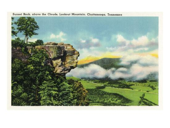 Lookout Mountain, Tennessee - Scenic View from Sunset Rock on the Mountain-Lantern Press-Art Print