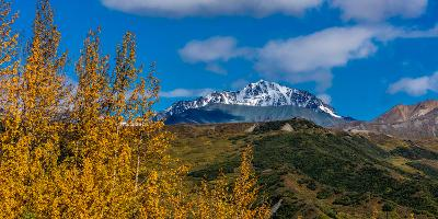 Lookout view of Glacier and Mountains off Richardson Highway, Route 4, Alaska--Photographic Print