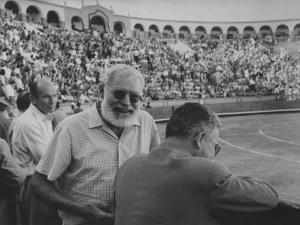Author Ernest Hemingway with Friend at Spanish Toreadors by Loomis Dean
