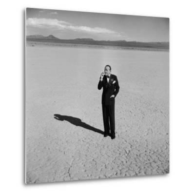 British Entertainer Noel Coward in Middle of Desert, Dressed for His Nightclub Act