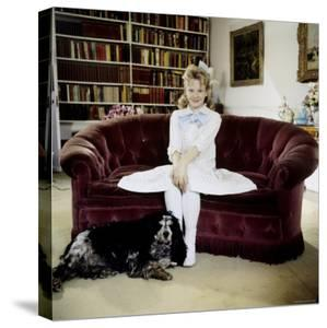 "Child Actress Hayley Mills in Old Fashioned Dress with Spaniel at Making of Film ""Pollyanna"" by Loomis Dean"