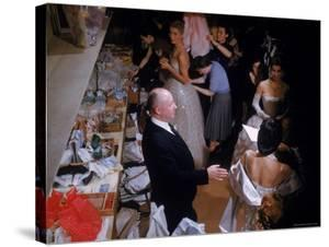 Fashion Designer Christian Dior and Staff at Rehearsal of New Collection Showing by Loomis Dean